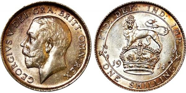 George V. Silver Shilling. 1914