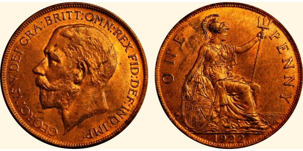 George V. Bronze Penny. 1922.