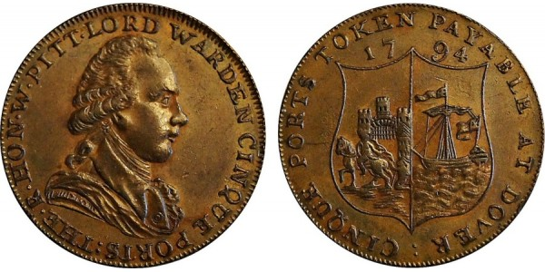 Kent. Dover. Horn's Halfpenny. 1794. DH 16.