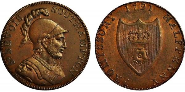 Hampshire. Southampton Halfpence. 1791. DH 89.