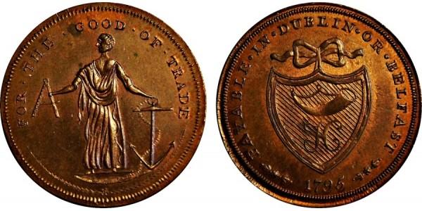 Ireland. Dublin. Halfpenny Token. 1795. DH 311.