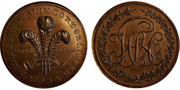 Ireland. Dublin. HS & Co Halfpenny. 1795. DH 325