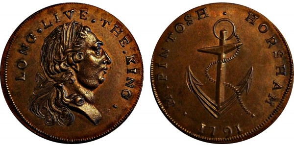 Sussex. Halfpenny. 1791. DH 27A