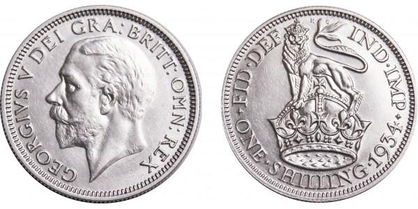 George V, Silver shilling, 1934