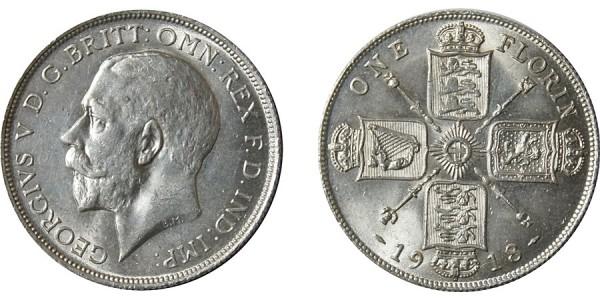 George V. Silver Florin. 1918
