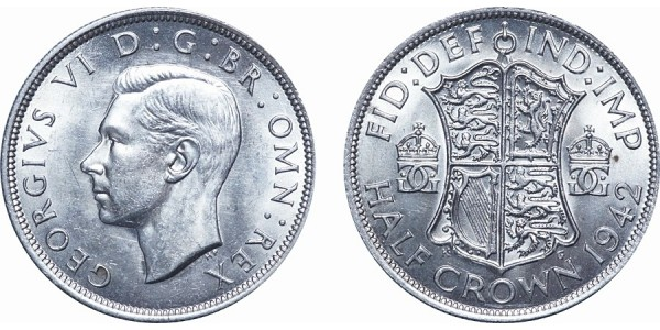 George VI, Silver Half-crown. 1942
