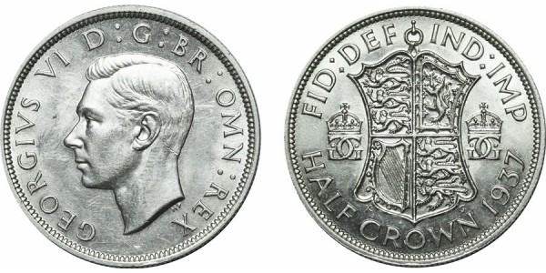 George VI. Silver Half-crown, 1937