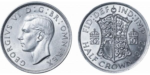 George VI. Silver Half-crown, 1942.
