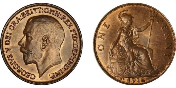 George V, Bronze Penny, 1918KN