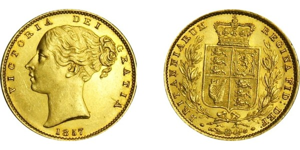 Victoria, Gold Sovereign, 1857.