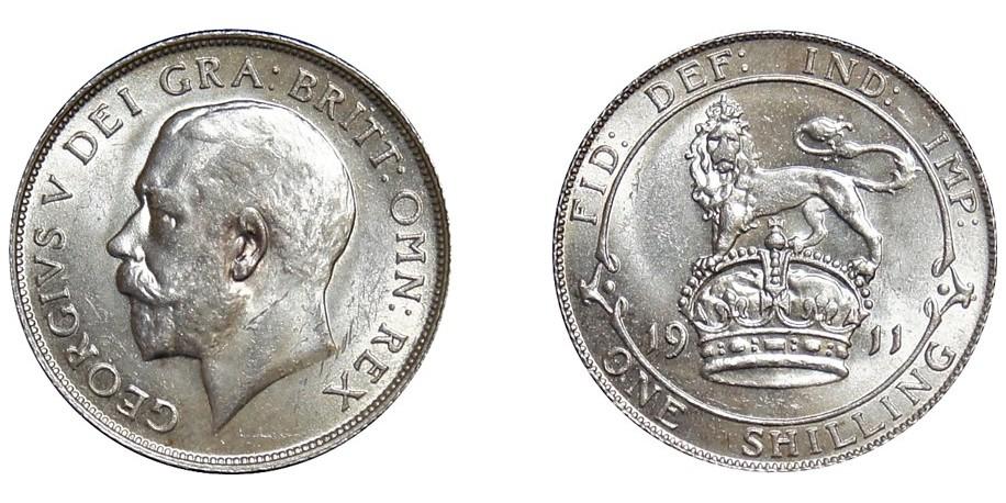 George V, Silver Shilling, 1911.