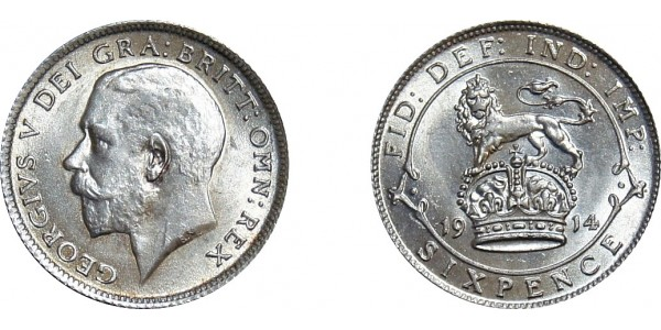 George V, Silver Sixpence, 1914