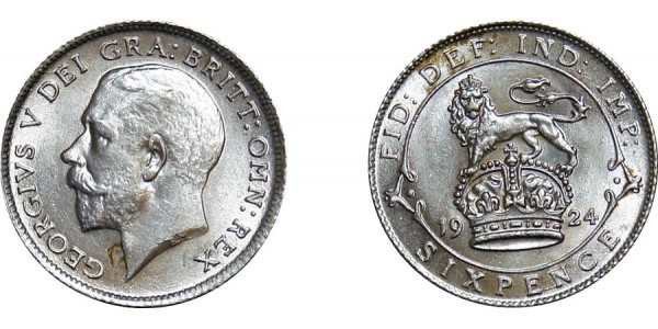 George V, Silver Sixpence, 1924