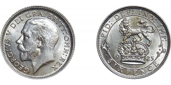 George V, Silver Sixpence, 1925