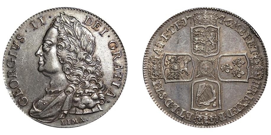 George II, Silver Crown, 1746. LIMA below bust.