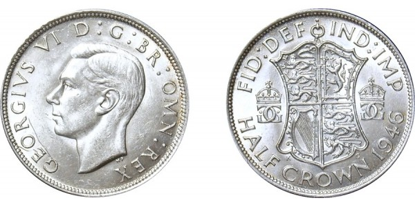 George VI, Silver Half-crown. 1946