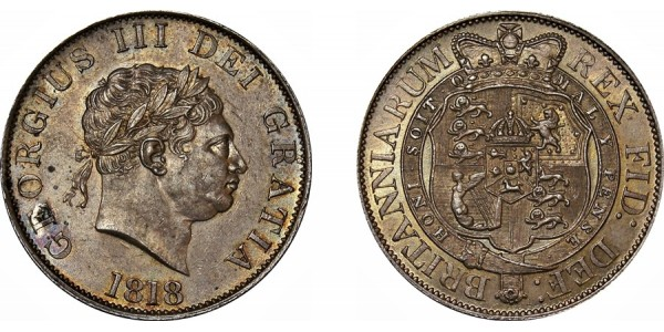 George III, Silver Half-crown, 1818