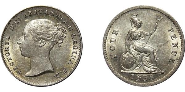 Victoria, Silver Groat, 1838