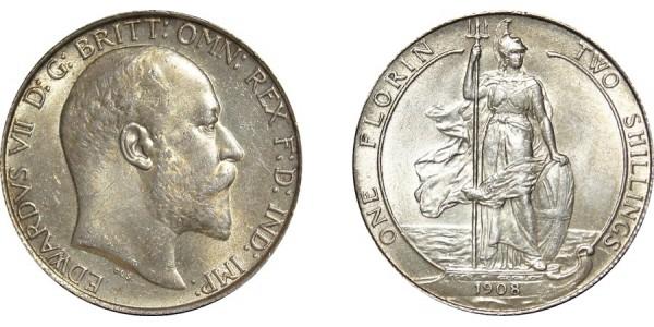 Edward VII, Silver Florin, 1908
