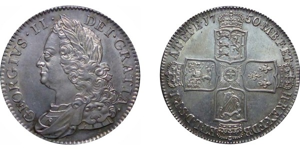 George II, Silver half-crown, 1750