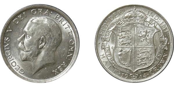 George V, Silver Half-crown, 1914