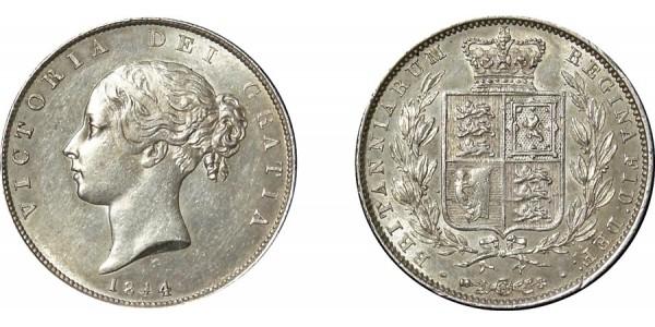 Victoria, Silver Half-crown, 1844