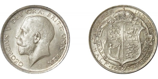 George V, Silver Half-crown, 1917