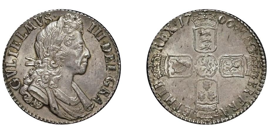 William III, Silver Shilling, 1700. Small 00's