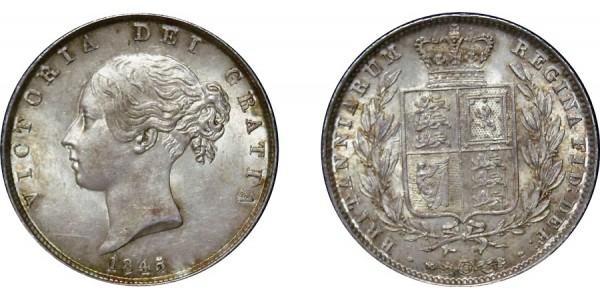 Victoria, Silver Half-crown, 1845 over 3