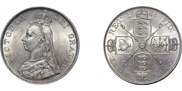 Victoria, Jubilee Silver Double Florin,Inverted 1