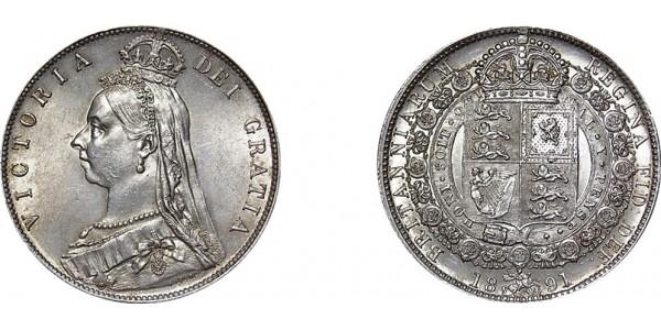 Victoria, Jubilee Half-crown. 1891.