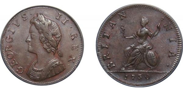 George II, Copper Farthing, 1730