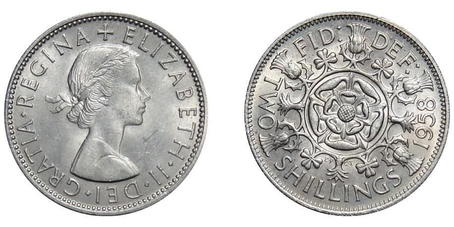 Elizabeth II, Cupro-nickel Florin, 1958.