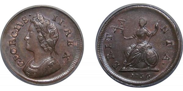 George II, Copper Farthing, 1736