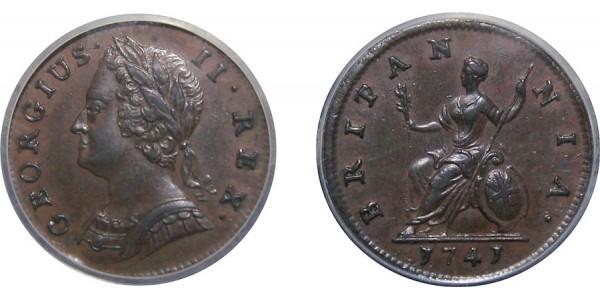 George II, Copper Farthing, 1741.