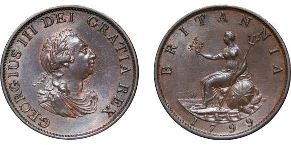 George III, Copper Halfpenny, 1799. 5 Gunports
