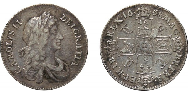 Charles II, Silver Shilling, 1668.