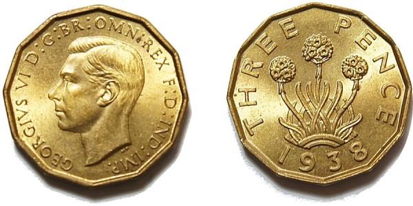 George VI, Brass Threepence. 1938