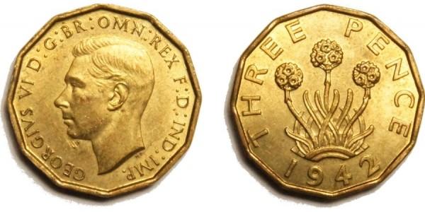 George VI, Brass Threepence. 1942