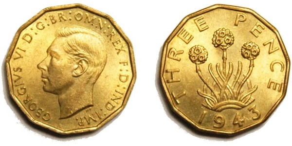George VI, Brass Threepence. 1943