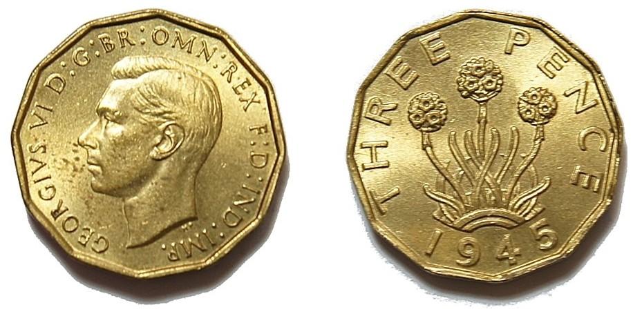 George VI, Brass Threepence. 1945