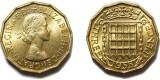 Elizabeth II, Brass Threepence. 1958