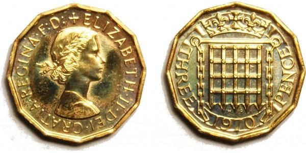 Elizabeth II,  Proof Brass Threepence. 1970