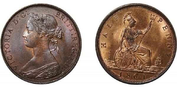 Victoria, Bronze Halfpenny, 1860. F. 258