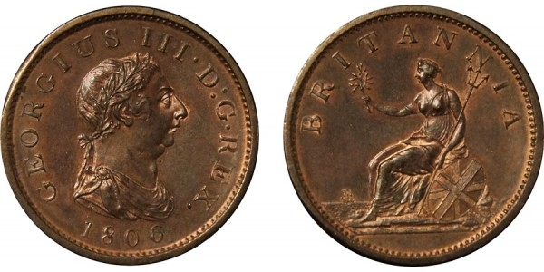 George III, Soho Mint Copper Penny, 1806