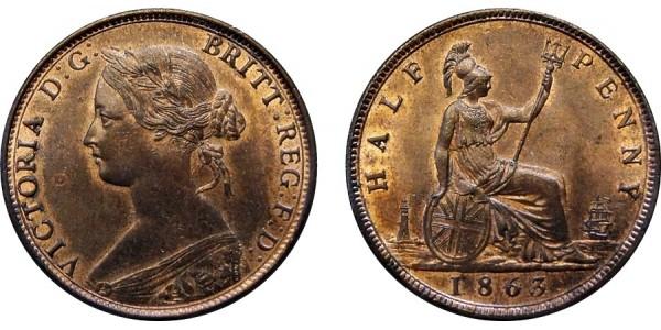Victoria, Bronze Halfpenny, 1863