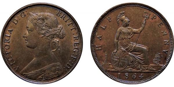 Victoria, Bronze Halfpenny, 1864.