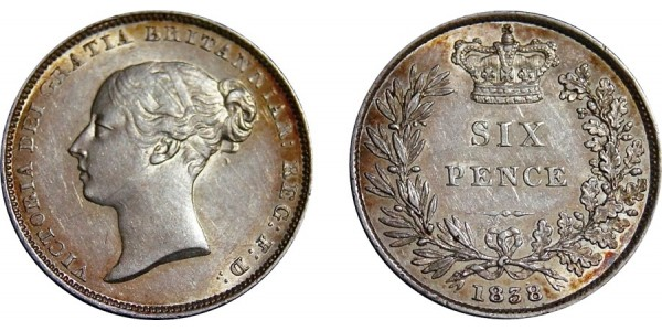Victoria, Silver Sixpence, 1838