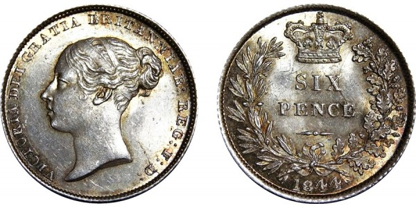 Victoria, Silver Sixpence, 1844